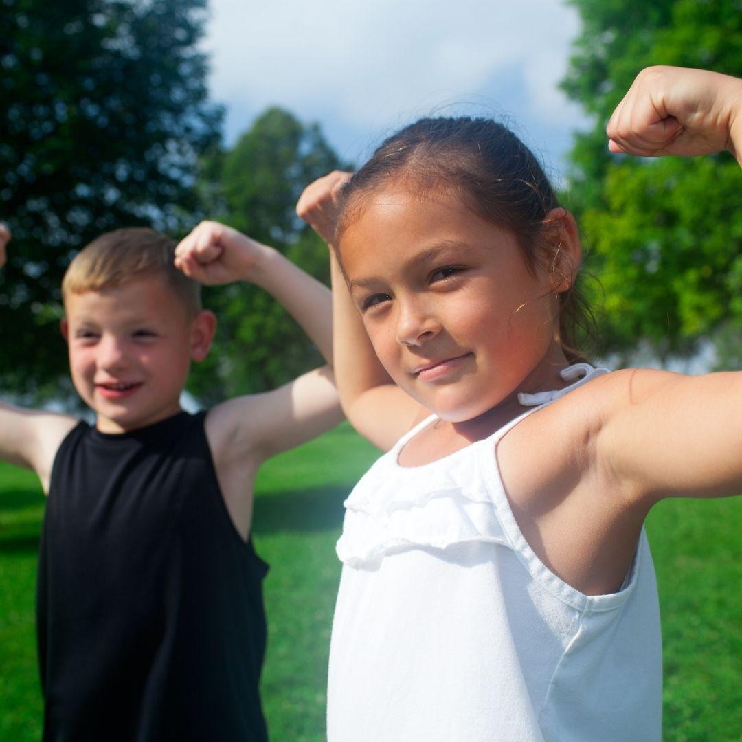 Children exercising in Acton Park